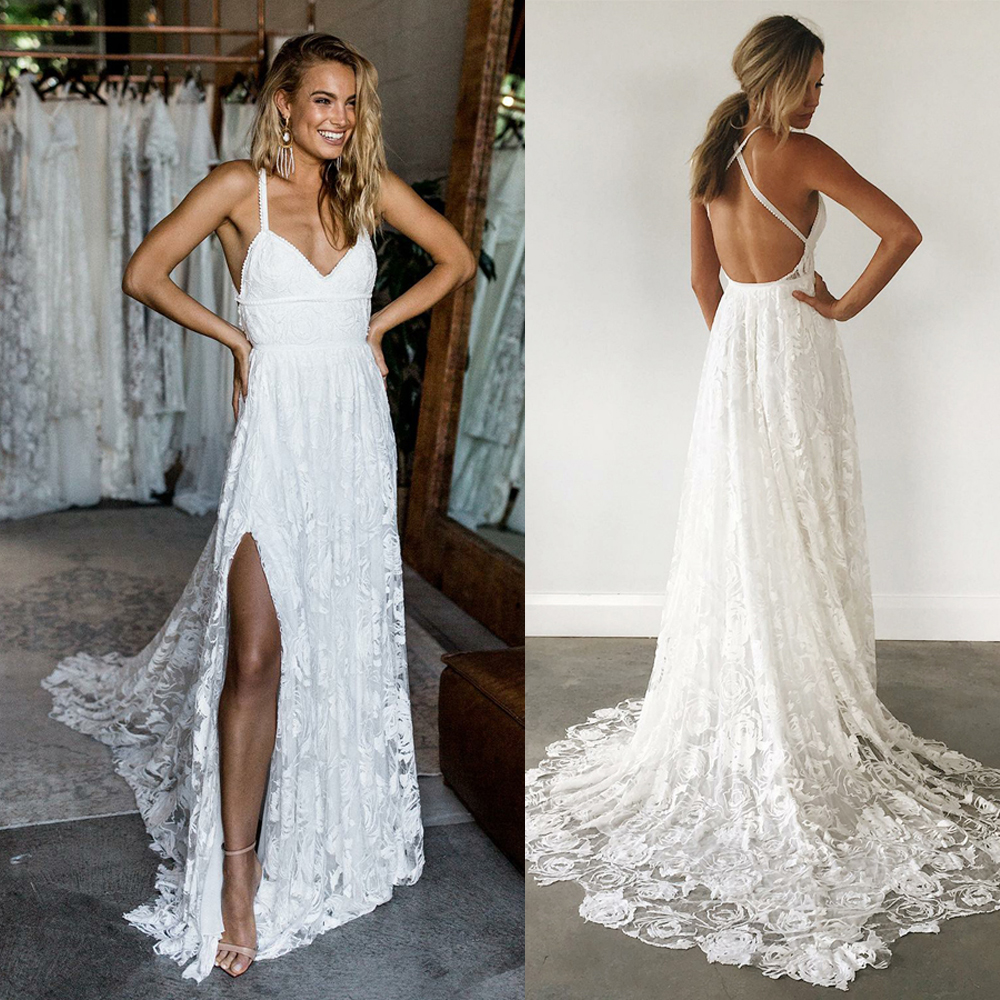 Backless Wedding Gowns: BeryLove Sexy Beach Ivory Lace Wedding Dresses With Slit