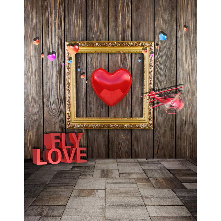 Customize vinyl cloth print 3 D love heart wood room photographic background for lovers portrait photography backdrops S-2131 8x10ft valentine s day photography pink love heart shape adult portrait backdrop d 7324