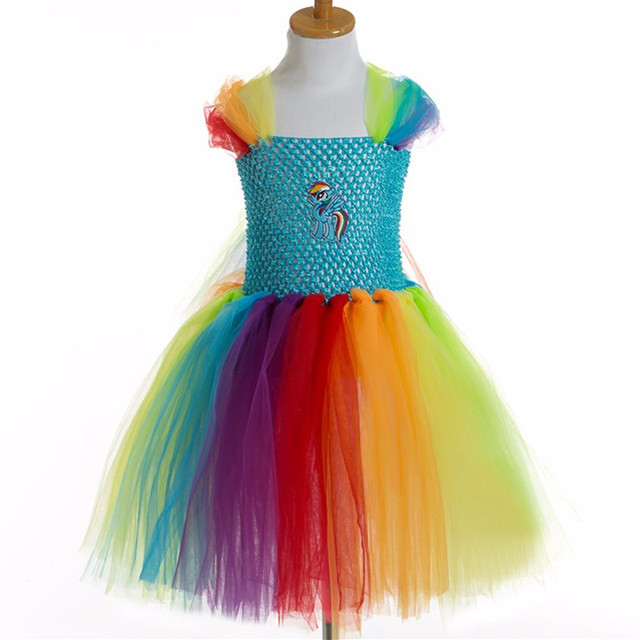 Моя Маленькая Лошадь Детские Девушки Платье Туту для Детей Дети День Рождения Тюль Платья Для Девочек Костюм Косплей Мультфильм Принцесса Платье