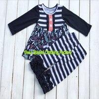 최고 품질의 원래 디자인 추수 감사절 의상 깃털 아기 소녀 의류 세트