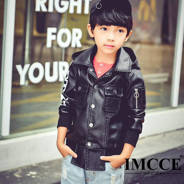 Autumn Spring Leather Jacket for Boys Hooded Leather Jacket,Advanced PU Imitation Leather Coat,Trim Fit Style clothing (3-12Yrs) advanced style