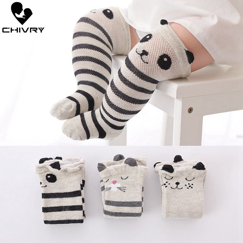 Chivry 3Pairs/lot Cute Baby Stocking Anti-Slip Newborn Infant Cartoon Princess Girls Stockings Summer Mesh Breathable