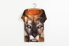 ASTFSC 3d Tiger Head Print Tee Shirt Loose O neck Batwing Tops For Plus Size Women