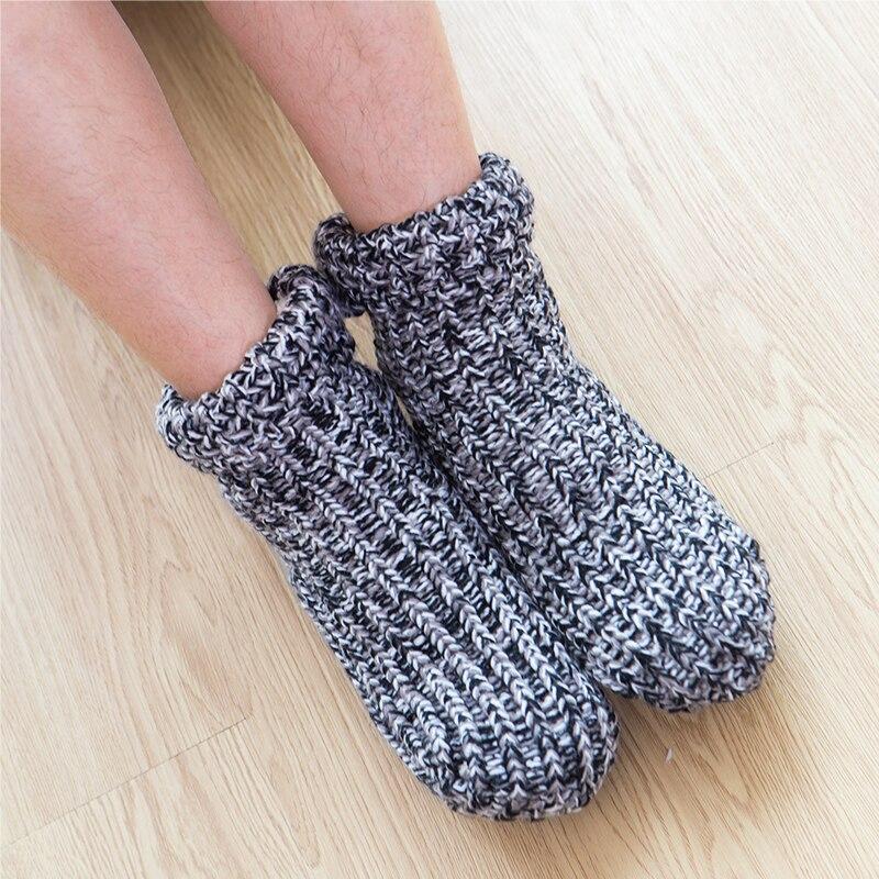 Zuzuwu 2Pairs Men's Slipper Socks Sherpa Lined Thick Fleece Warm Winter Home Socks Indoor