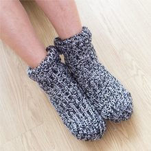 Zuzuwu 2Pairs Men's Slipper Socks Sherpa Lined Thick Fleece Warm Winter Home Socks Indoor cow pattern socks 2pairs