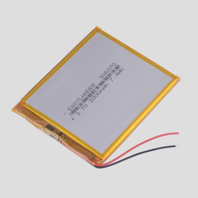 306070 3,7 В 2000 мАч Перезаряжаемые литий-полимерный Батарея для планшетных ПК Мощность банк Wexler книга E6005 356070 Оборудование для psp PDA gps DVR E-Book