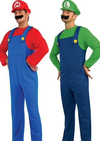 Halloween Super Mario Bros Luigi Costume Man Plumber Cosplay Fantasia Party Outfit