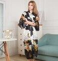 Sexy Kimono Robe Longo Impressão Camisola Nova Fêmea Do Vintage Novidade Mujer Impressão Sleepwear Com Decote Em V Pijama Vestir Vestido de Um Tamanho