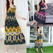 3XL 5XL Plus Size Women Vintage Boho Print Vintage Dress Sleeveless Drawstring Front Elastic High Waist Casual Maxi Long Dress