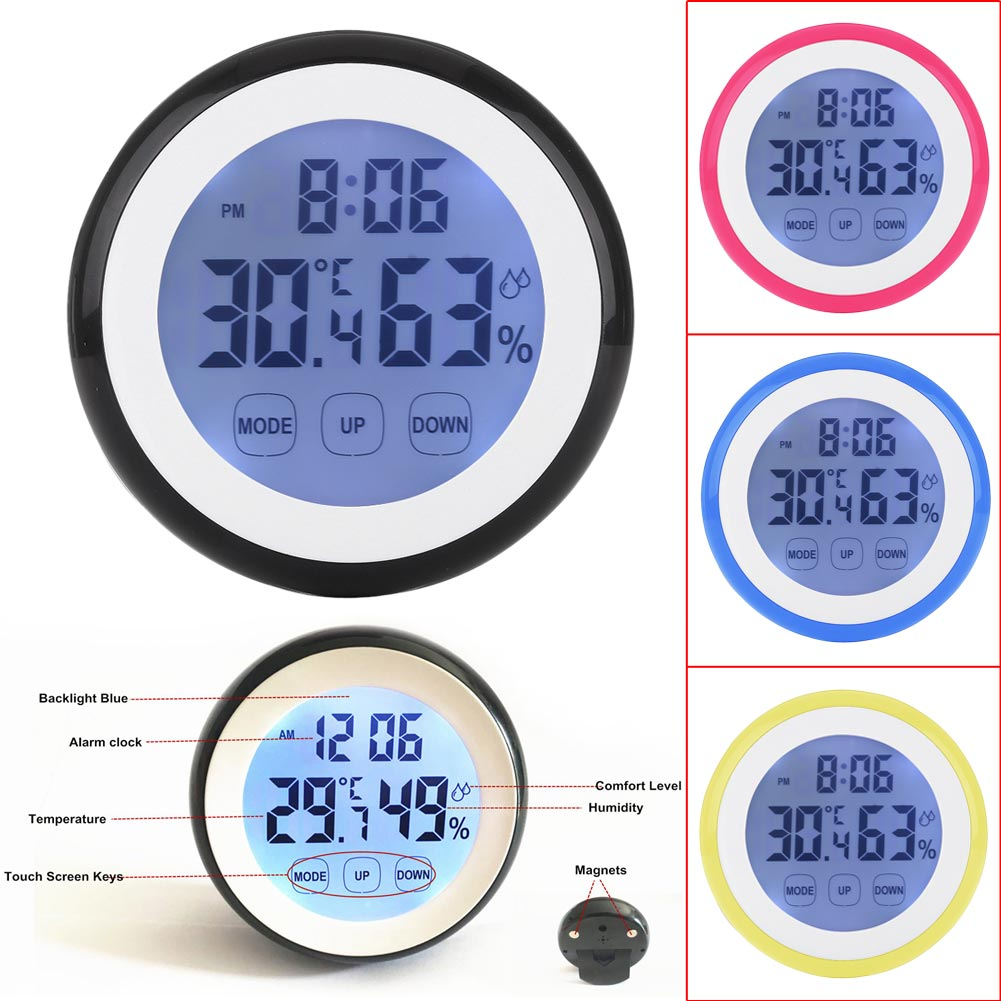 Digital LCD Thermometer Hygrometer Electronic Temperature Humidity Meter Weather Station Indoor Tester Time Clock With Backlight комплект студийного света lumifor amato 100 advance kit lx 100 3suu kit