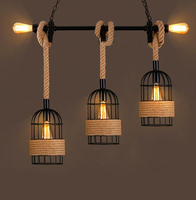 Retro Industrial Pendant Lights For Bar Restaurant Creative Personality Network Cafe Bar Clothing Store Hemp Rope