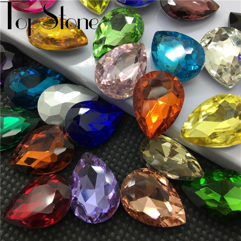 TopStone i alle størrelser Farger Teardrop Glass Crystal Fancy Stone Spisset tilbake Rhinestone Droplet for smykker