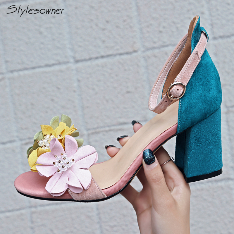 Stylesowner Women Ankle Strap Flower High Heels Sandals Summer Chunky Heel Mixed Color High Heels Shoes Open Toe Buckle Sandals great mixed color multi band sandals stiletto heel high quality sexy open toe shoes summer hot selling high heel sandals on sale