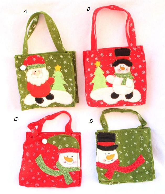 Christmas Snowman Santa Claus Candy Gift bag Treat Bags Kids