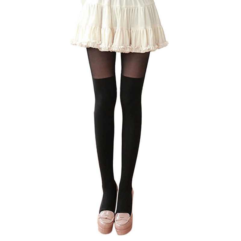 90233327aa58f ... Женские лоскутные колготки женские цветные строчки черные Колготки для  осени и весны витые гольфы Колготки ...