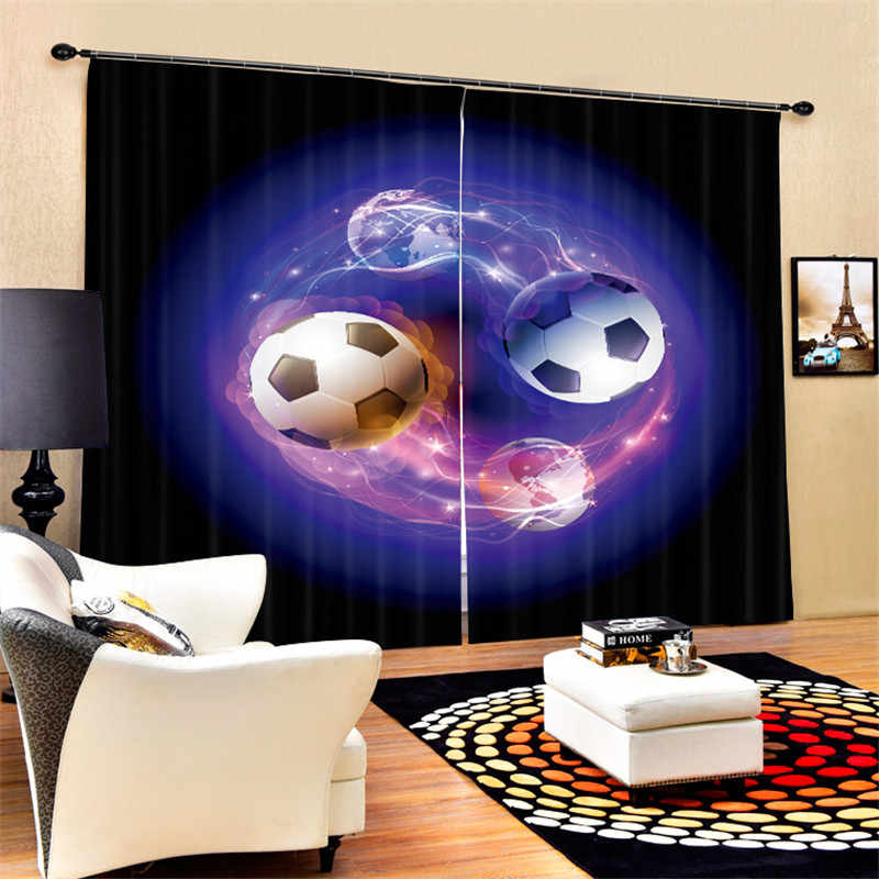 3D Window Curtains Luxury Blackout For Living Room Bedroom Drapes cortinas Rideaux Customized size kinds of footbal pillowcase