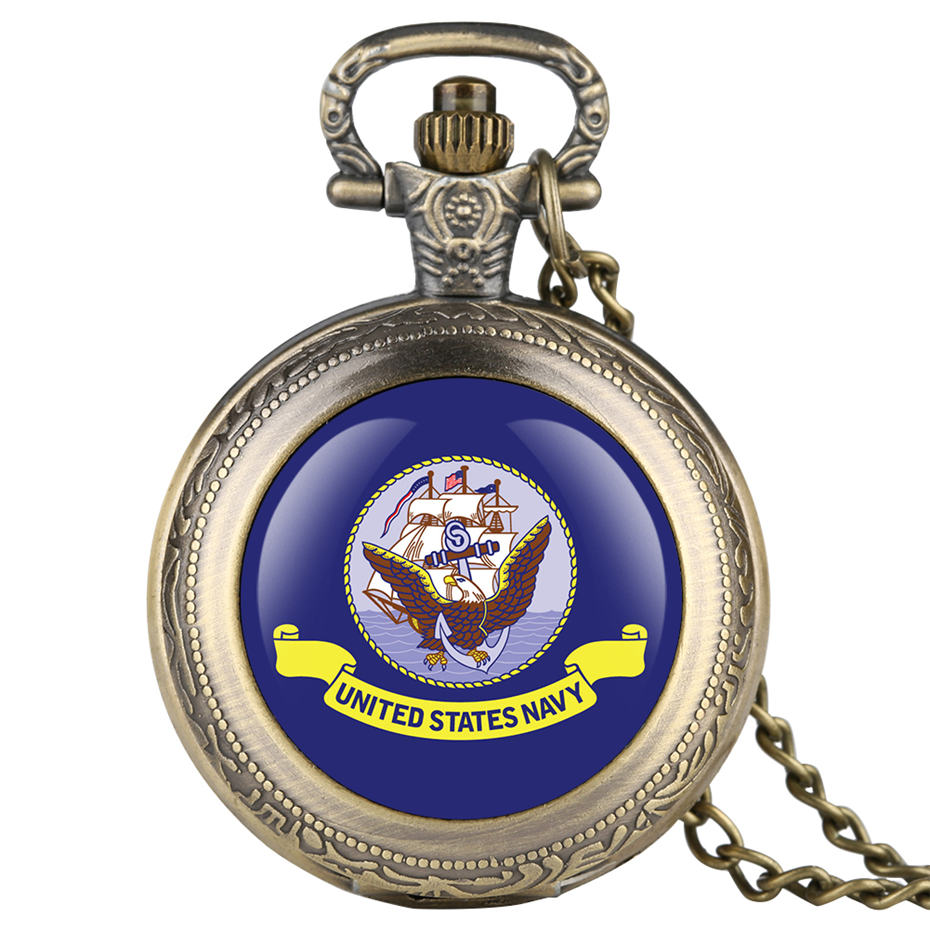 Souvenir United States Navy Quartz Pocket Watch Men Fashion Casual Fob Women Watches With Necklace Pendant Clock Gifts 2019