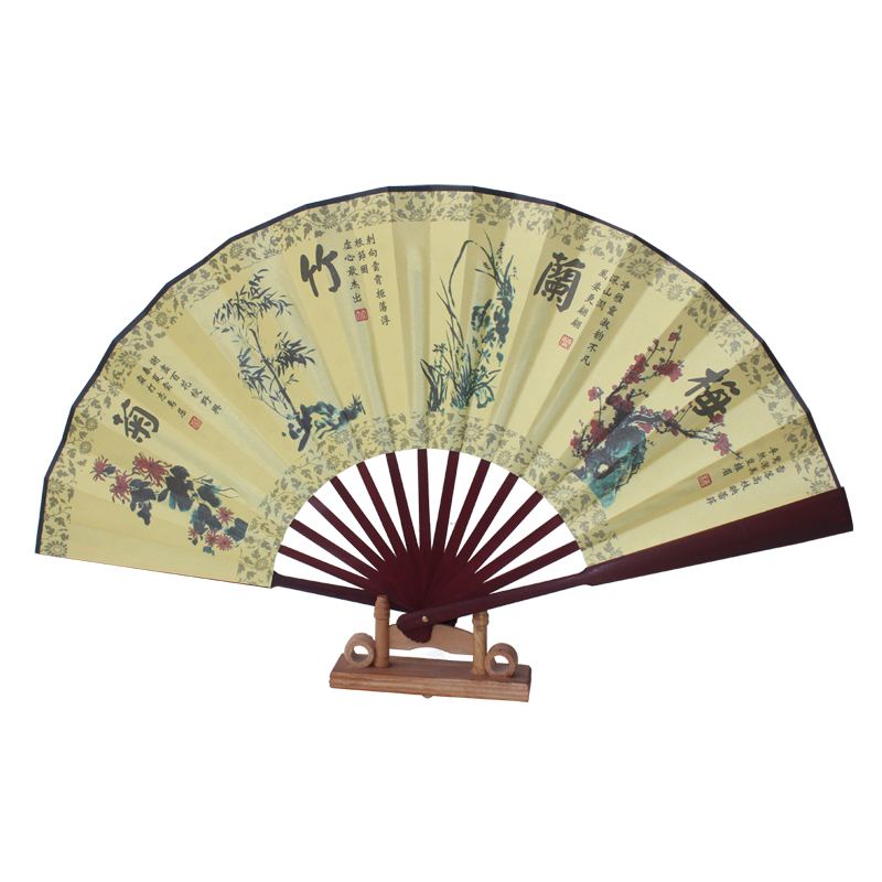 Chinese bamboo folding hand fan wedding leque decorative wall fans ...