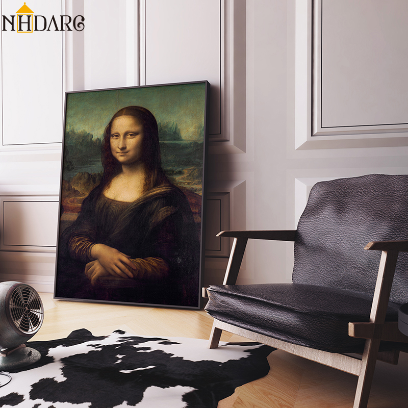 Classic Oil Painting Leonardo Da Vinci The Mona Lisa Smile Canvas Print Painting Posters Wall Picture for Living Room Home Decor