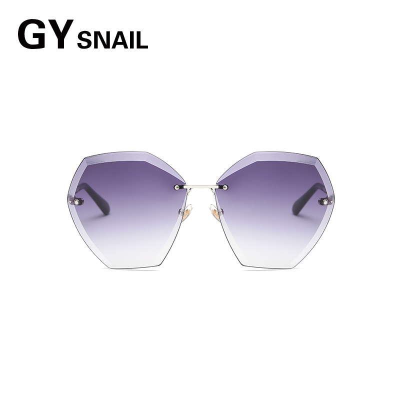 GYsnail new Fashion Vintage Rimless sunglasses women Elegant Style hexagon sun glasses oversized retro for Lady Ladies Pink rose
