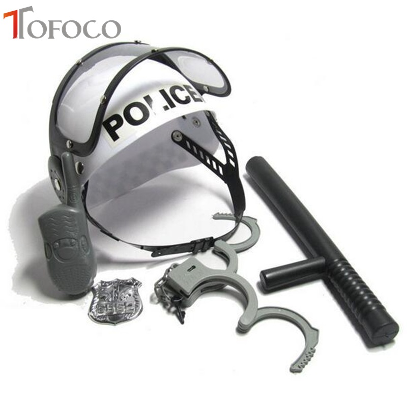 TOFOCO Policeman Role Pretend Play Toys Camouflage Hat Walkie Talkie Handcuffs Baton Emblem Sets for Kids Cosplay
