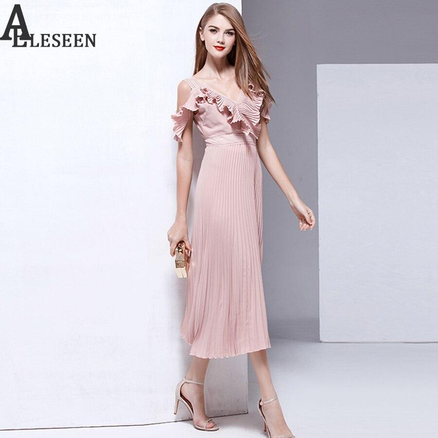 New Arrival letnie sukienki 2018 moda wysokiej jakości Off The Shoulder Ruffles dekolt w szpic Hollow Out Patchwork Draped Sexy długa sukienka w Suknie od Odzież damska na  Grupa 2
