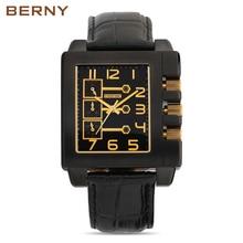 BERNY 2017 Función de Los Hombres de Oro Rosa Reloj de Los Hombres de Primeras Marcas de Lujo Famoso Reloj Masculino Reloj de Cuarzo de Oro Reloj de Pulsera de Cuarzo-reloj