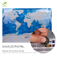 Deluxe Travel Scratch Off World Map Blue Ocean Retro Wall Sticker Diy Poster Map With Flag