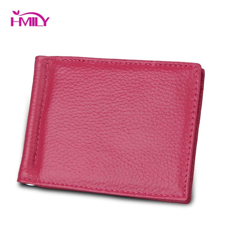 HMILY Dollar Clip Credit Card Case Wallet Genuine Leather Men &women Money Clips Wallet RFID Blocking Card & ID Holder Bag