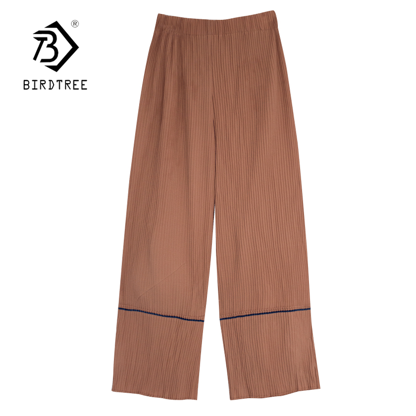 Bottoms Womens Summer Solid Loose Elastic Waist Patchwork Pleated Wide Leg Pants 2018 New Arrival Casual Elegant Pants Hot Sale B85316f Street Price