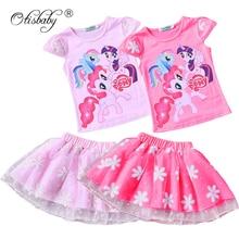 Hot Summer 2pcs My Little Girls Pony Clothing Set Prints T Shirt + Flower Tulle Tutu Dress Children's Kids Print Party Costume