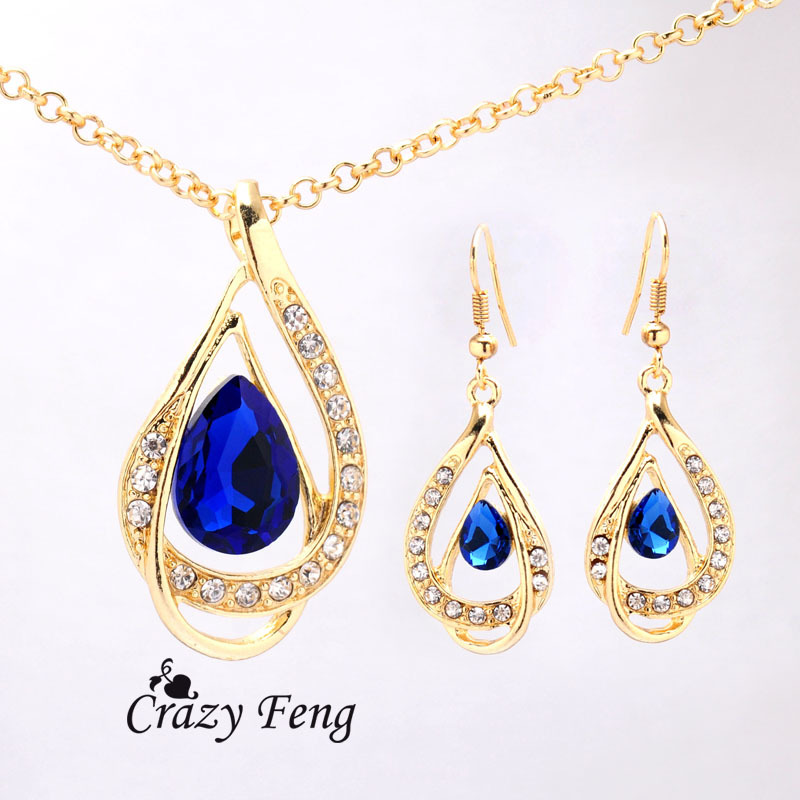 Fashion women Silver Filled Blue Sapphire Crystal Jewelry Sets Necklace Earrings