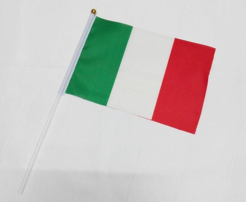 Italy Polyester Flags <font><b>Home</b></font> <font><b>Decoration</b></font> flag banner 21*14cm <font><b>Italian</b></font> Flag hand waving flags with Plastic Flagpoles 10pcs/pack