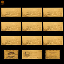 Lote de 10 billetes en oro de Omán, 50 billetes en Rial, papel de aluminio dorado, colección de dinero falso y regalo divertido