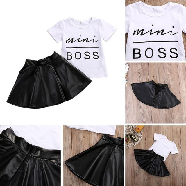 New 2PCS Toddler Kids Girl Clothes Set Summer Short Sleeve Mini Boss T-shirt Tops + Leather Skirt Outfit Child Suit New 1