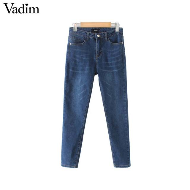 Vadim mujer chic sólido jeans denim bolsillos corte slim elástico pantalones  lápiz mujer casual pantalones de ef2bc79e448