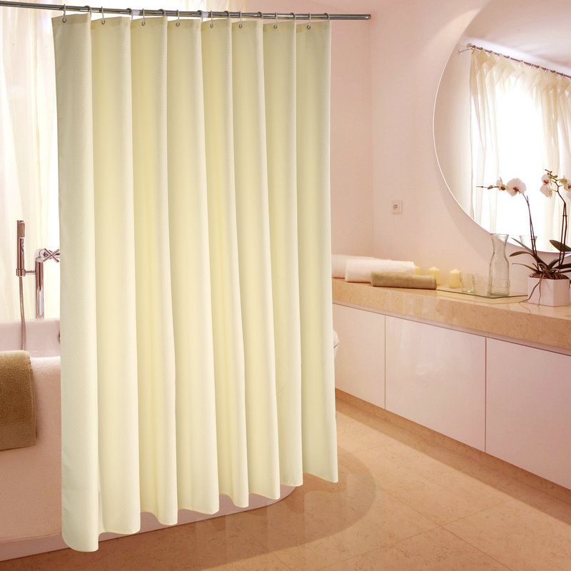 Polyester shower curtains for hotels cream color waterfull for Rideau de douche colore
