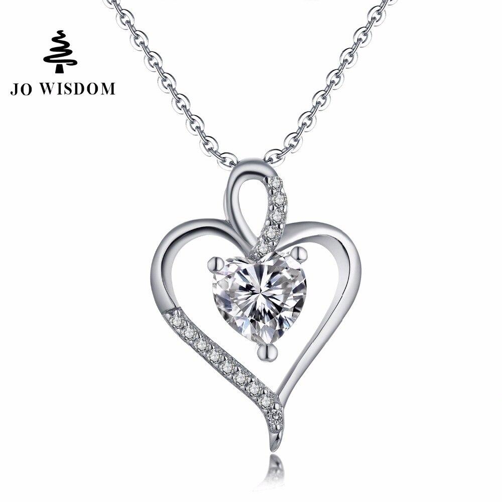 JO WISDOM Fine Jewelry Silver Heart Pendants Necklaces Ladies jewelery Accessories Costume Jewelry Earrings