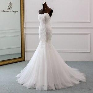 Image 2 - PoemsSongs חדש יוקרה תחרה חתונה שמלה 2020 robe mariage Vestido דה noiva בת ים חתונת שמלות robe דה mariee