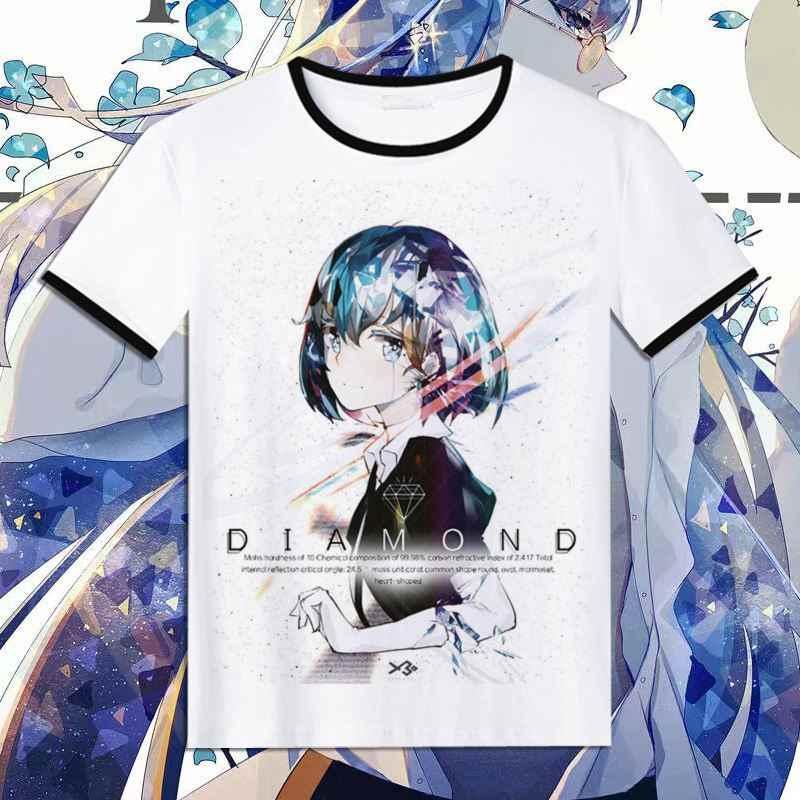 New Houseki no Kuni 코스프레 티셔츠 블랙 오 넥 반팔 탑스 Phosphophyllite 프린트 다이아몬드 T 셔츠 캐주얼 여름 티셔츠