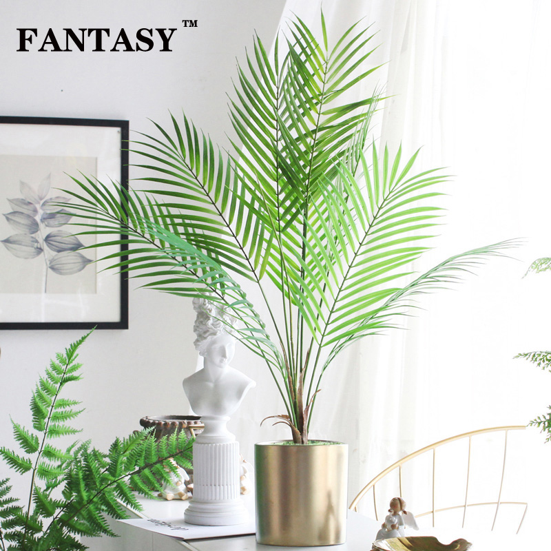 9 Fork Fake Plant Artificial Palm Tree Leaves Bouquet Tropical False Bamboo Plastic Leaf Branches For Garden Jungle Party Decor