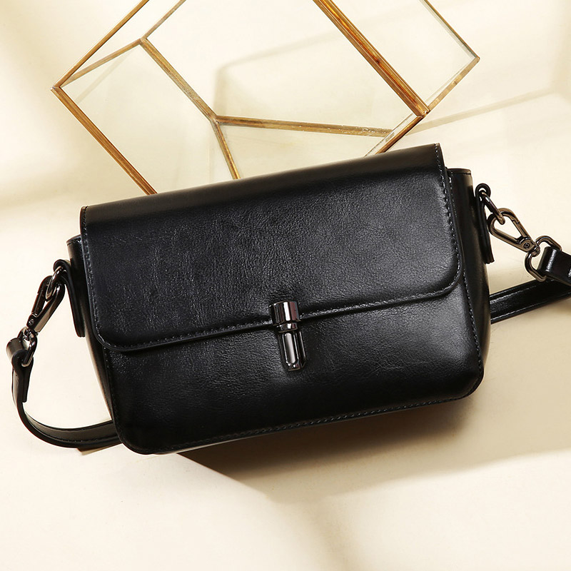 New ladies leather multi color shoulder Messenger bag Fashion vertical lock leather small square bag in Shoulder Bags from Luggage Bags