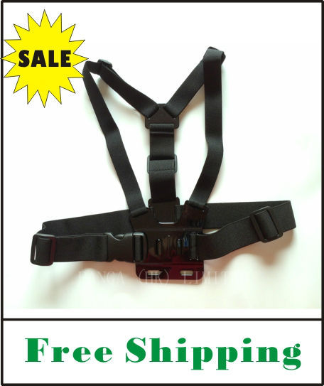 FREE SHIPPING Chest Mount Harness adjustable Chest Strap belt For Gopro Hero1 Hero2 Hero3  (with pouch)