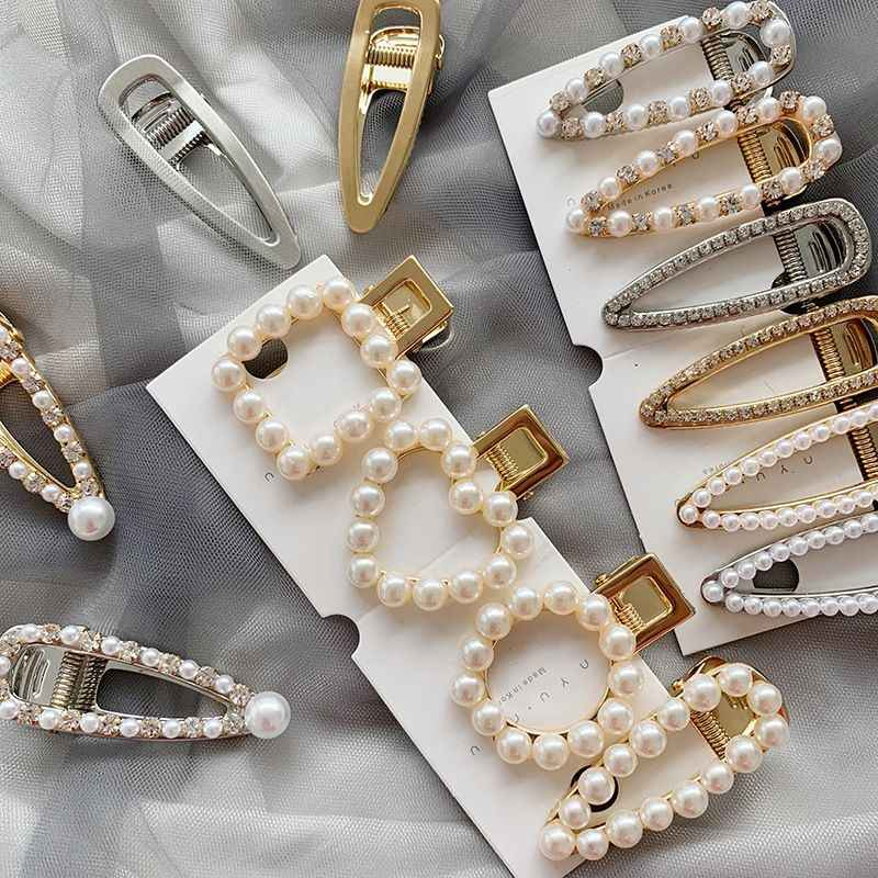 Fashion Korea Pearl Water drop Hairpins Metal Gold Color Hair Clips Pearl Hairpins Hair Accessories for Women Girls Drop shiping
