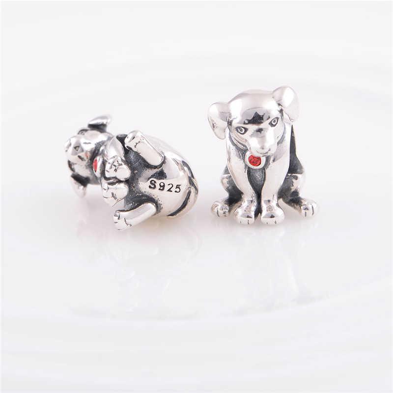 """Щенок Собака Шарм S925 серебро шарик для браслет """"сделай сам"""" для изготовления ювелирных изделий, оптовая продажа ювелирных изделий X171H10"""