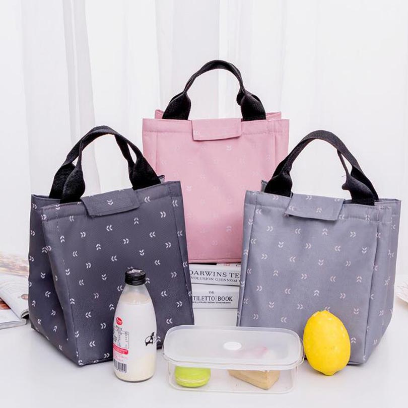 Leaf Pattern Waterproof Oxford Tote Lunch Bag Large Capacity Thermal Food Picnic Lunch Bags For Women Kid Men Cooler Lunch Box