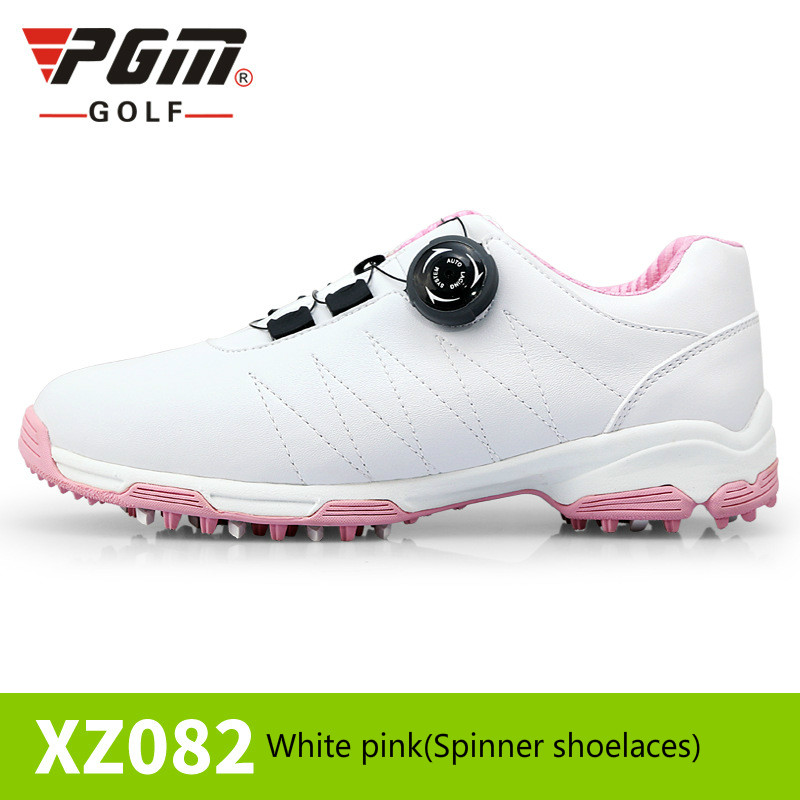 2018 Golf Women Shoes Waterproof Outdoor Sports Shoes EVA Midsole Microfiber Leather Breathable Skidding Nails Spikes Twist