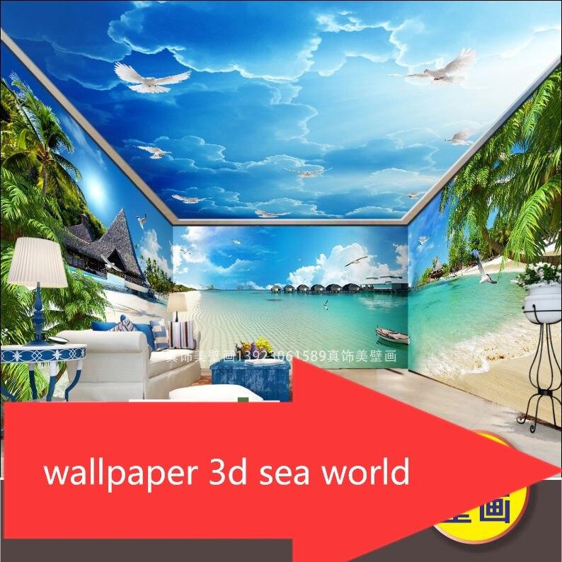 New custom Sea breezy beach fresco coconut Mediterranean photo wallpaper 3d bedroom natural landscape TV backdrop wall cover