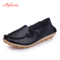 Aphixta Soft Leather Flats Women Shoes Lace Up Casual Flat With Non Slip Outdoor Shoes Silver