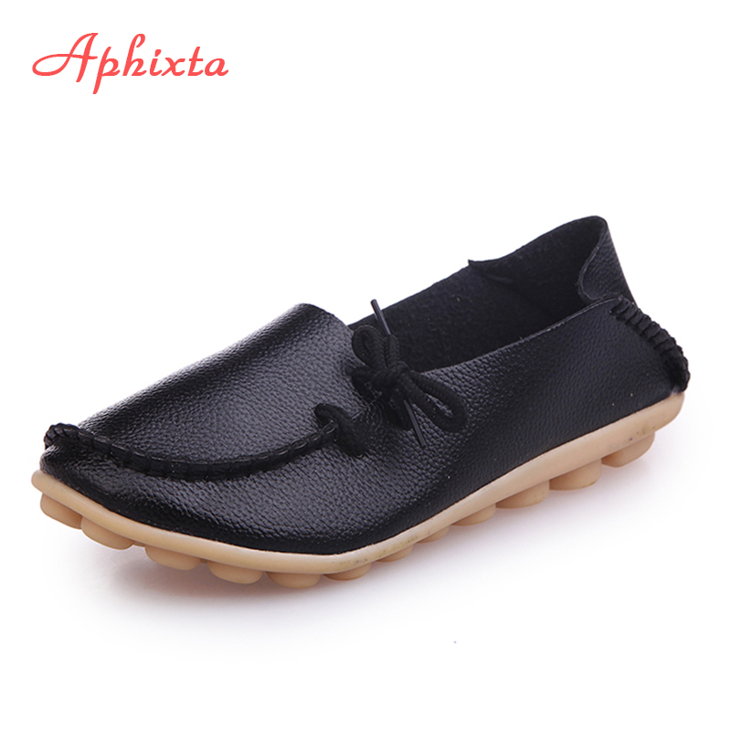 Aphixta Soft Leather Flats Women Shoes Lace up Casual Flat With Non-Slip Outdoor Shoes Silver Black Plus Size 34 -44 genuine leather women shoes fashion lace up casual flat shoes peas non slip outdoor shoes plus size